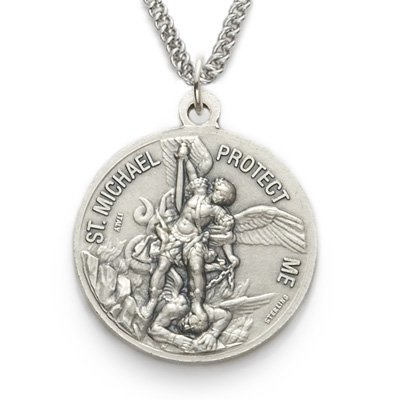"""Sterling Silver 1"""" Round Engraved U.S. Navy Medal w/ St. Michael on Back on 24"""" Chain"""