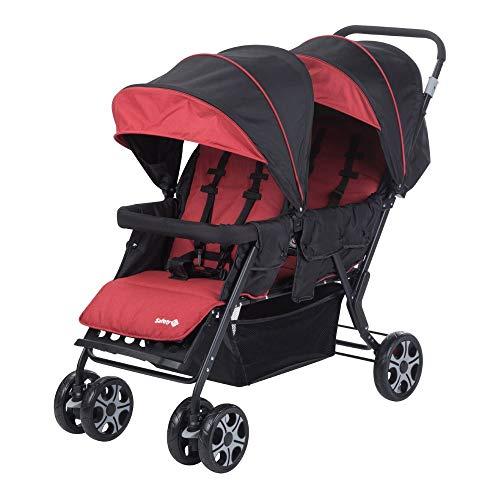 Safety 1st Teamy Cochecito gemelar y hermanos, Silla de paseo gemelar plegable, carrito gemelos doble, ligero y compacto, color Red Chic