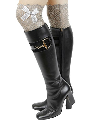 Gingas Galleria Dames Strass Strik Stretch Veterboot Manchetten Kaki / Wit