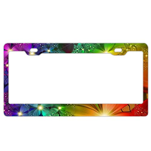 (Auto Decorative Frames Bling Rainbow Flowers Girly License Plate Frame for Women/Girls, Slim Aluminum License Tag Frame with Screw Caps - 2 Holes Car License Plate Cover for US Vehicles)