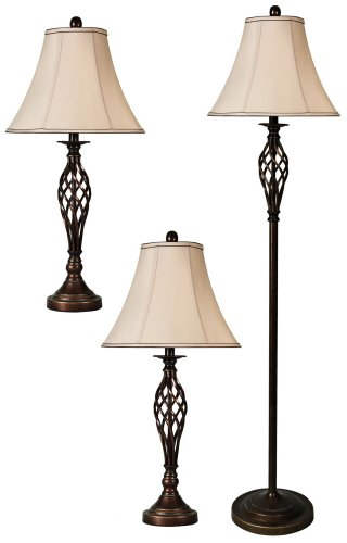 Barclay Bronze Floor and Table Lamps Set of 3 by Universal Lighting and Decor