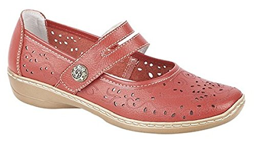 Boulevard CHARLOTTE Ladies Womens Leather Mary Jane Shoes Blue Red Leather Z5dAQ