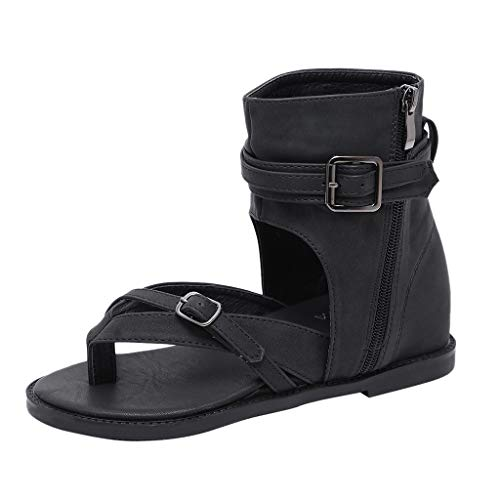 GINELO Rome Women Wrapped Ankle Open Toe Boots Low Sandals Ankle Buckle Summer Zip Cool Thong Shoes ()
