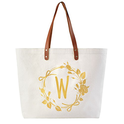 ElegantPark W Initial Personalized Gift Monogram Tote Bag with Interior Zip Pocket Canvas