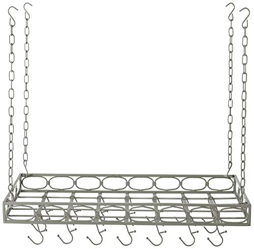 Old Dutch Rectangular Hanging Pot Rack with 16 Hooks, Antique Pewter, 36 x 18 x 4 inches