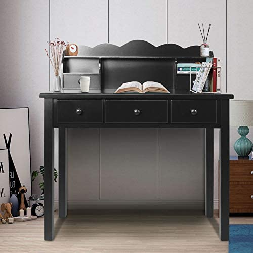 Home Office Furniture Writing Desk,Computer Work Station with Detachable Hutch,5 Drawers Black