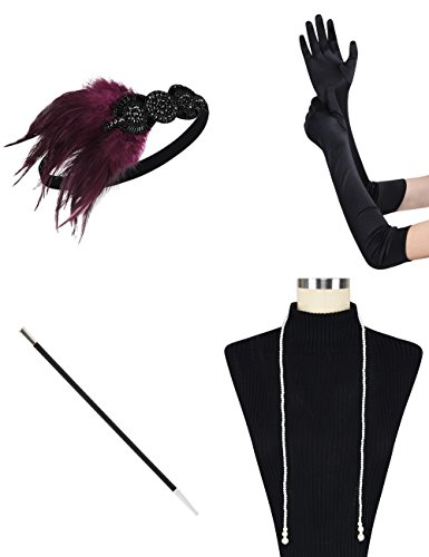 PrettyGuide Womens 1920s Gatsby Costume Headpiece Necklace Gloves Cigarette Holder