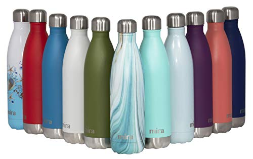 MIRA 17 Oz Vacuum Insulated Travel Water Bottle | Leak-Proof Double Walled Stainless Steel Cola Shape Portable Water Bottle | No Sweating, Keeps Your Drink Hot & Cold | 500 ml Teal Granite