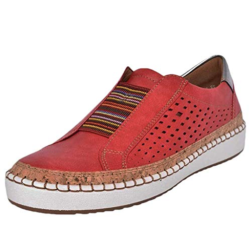 HAPPYSTORE Women Sneakers Comfy Cushioned Running Insole Flat Hollow Out Slip-On Driving Loafers Athletic Shoes Red