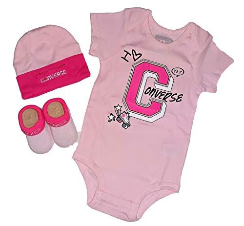 Converse Infant Baby Girls Team Spirit Bodysuit, Hat & Socks 3 Piece Infant Set (Arctic Pink (10006295-650) / White, 6-12 Months) -
