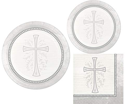 Inspirational Religious Party Supplies: Bundle Includes Dinner Plates, Dessert Plates and Napkins for 8 People in a Divinity Cross Design (Silver) ()