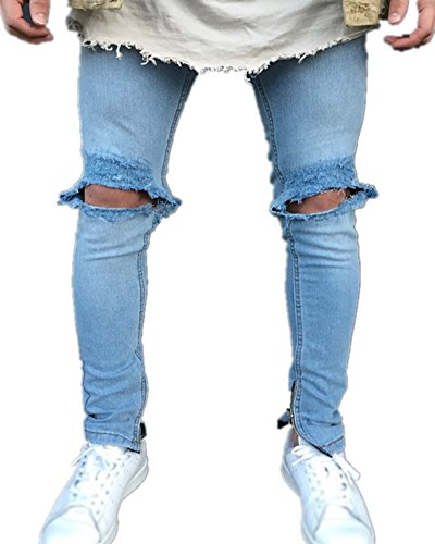 Vaqueros para Hombre Azul Mengmiao Denim Pantalones Slim Straight qxwnXBIn