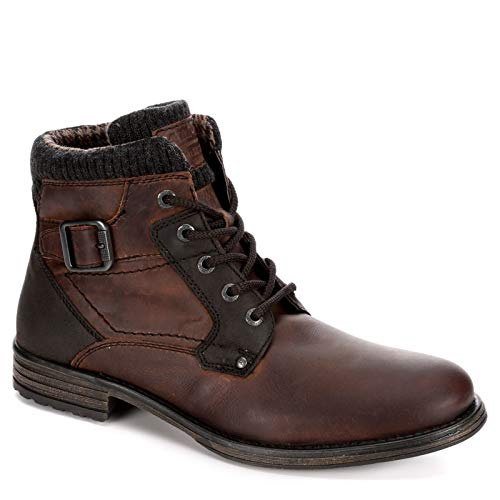 AM Shoes Mens Leather Plain Toe Lace Up Boot Shoes, Dark Brown, US 9