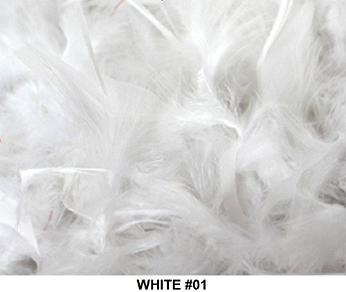 Cozy Glamour Over 50 Different Solid Color Feather Boas 6 Feet Long 50 Gram Weight (white #01) -