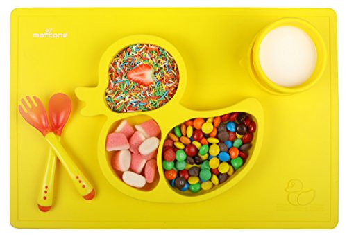 """Premium One piece Silicone Placemat + Plate for Kids By Matcone 15""""x10"""" Non slip Children Placemats Tableware With Bonus Soft tip Spoon + Fork + Collapsible cup + eBook- Baby Weaning (Yellow)"""