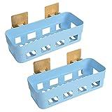 Saim Wall Bathroom Organizer, Plastic Storage Basket Adhesive for Kitchen Bathroom Waterproof and Oilproof Basket for Shampoo Shower Gel Soap, Blue, 2 Pcs