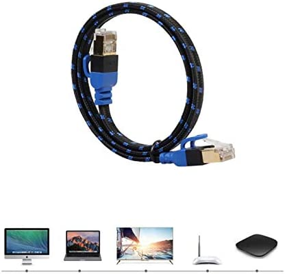 Computer Cables PPYY New Cable Length: 0.5m Yoton Fiber Network Cord Double Shielding CAT7E Ethernet Internet Network Patch NAS Flat Cable for Laptop Computer