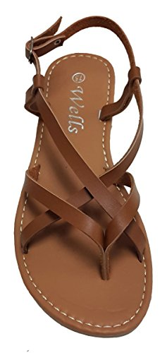 (Elegant Women's Fashion Criss Cross Strappy Camel Color Gladiator Flat Sandals Camel 7, M US)