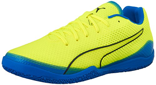 PUMA Men's Invicto Fresh Soccer Shoe, Safety Yellow/Peacoat/Electric - Puma Yellow