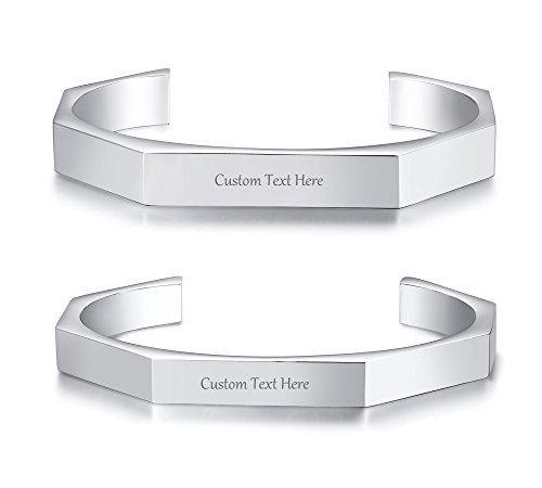 VNOX Customize Couple Bracelet Bent Open Hexagon Geometric Stainless Steel Matching Cuff Bangle for Him/Her by VNOX