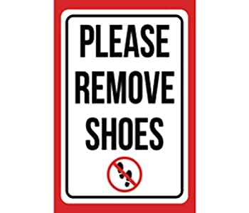 Please Remove Shoes Print Red Black White Picture Symbol Home Rules Front Room Notice Clean Sign