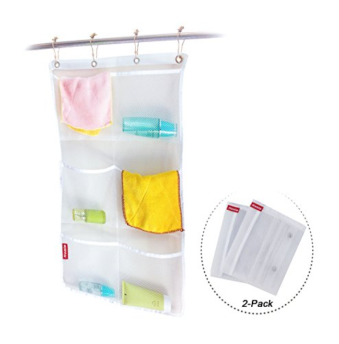 honla-2-pack-hanging-mesh-bath-shower-caddy-organizer-with-6-clear-storage-pocketslarge-grommets-set