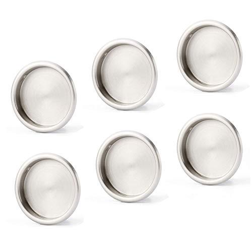 6 Pack Closet Door Finger Pull Satin Nickel- 2-1/8