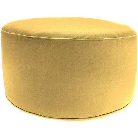 Jordan Manufacturing Round Outdoor Patio Pouf Ottoman, Canary Yellow