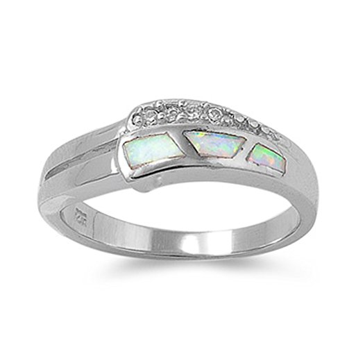 White Simulated Opal Polished Mosaic Ring .925 Sterling Silver Thumb Band Size 9 - Mosaic Opal Ring
