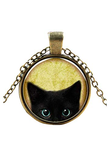 FEDULK Womens Retro Cat Pendant Steampunk Mystery Cabochon Glass Chain Novelty Personalized Necklace