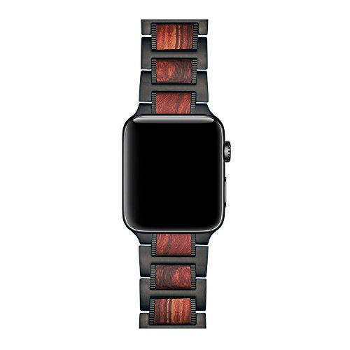 LDFAS Compatible Apple Watch Band 44mm/42mm, Natural Wood Red Sandalwood Black Stainless Steel Metal Link Bracelet Strap Compatible Apple Watch Series 4/3/2/1