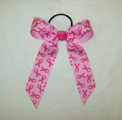 - Small Hair Bow with Breast Cancer Aware Ribbon, Made in the USA, Black Pony Band
