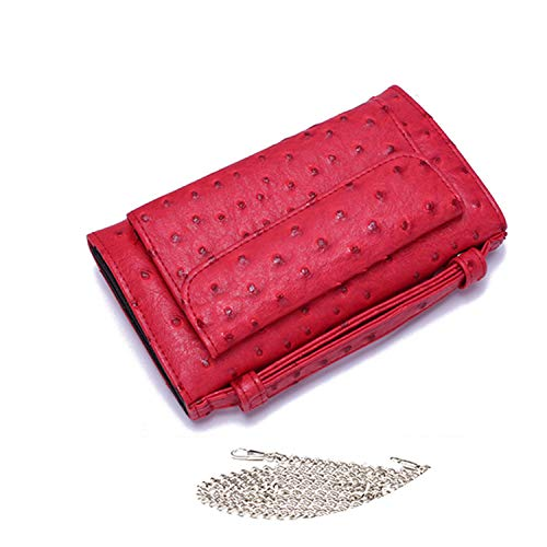 Luxury Genuine Python Leather Hand Bags Cross Body Shoulder Bag Snakeskin Designer Day Clutch Chain Crossbody Bag,Ostrich Red