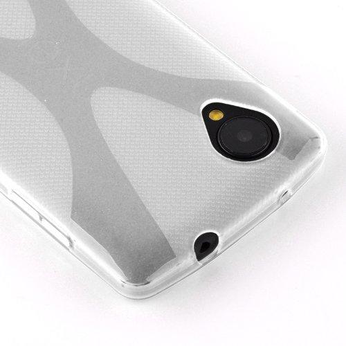 Cadorabo - LG NEXUS 5 Cubierta protectora de silicona TPU en diseño X-Line - Case Cover Funda Carcasa Protección en BLANCO-MAGNESIO SEMI-TRANSPARENTE