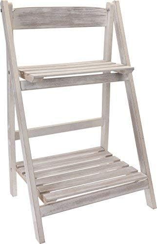 Mueble para flores blanco con aspecto envejecido con 2 estantes - Escalera para plantas Estantería para flores Estante para flores Escalera para flores: Amazon.es: Jardín