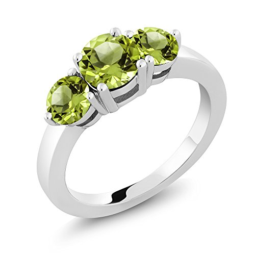 Gem Stone King 2.10 Ct 3-Stone Round Green Peridot 925 Sterling Silver Ring 1X6MM and 2X5MM (Size 9) ()
