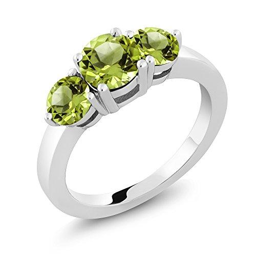 2.10 Ct 3-Stone Round Green Peridot 925 Sterling Silver (Round Peridot 3 Stone Ring)