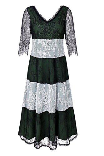 Frauen Vintage - Hälfte Ärmel Spitzen Mesh Hebt Patchwork - Colorblock Swing - Kleid Darkgreen