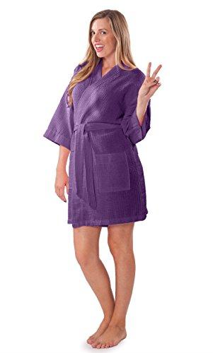 Lightweight Knee Length Waffle Kimono Bridesmaids Spa Robe (XXL, Purple)