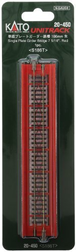 Kato 20-450 Single Track Plate Girder Bridge 186mm Red by Kato