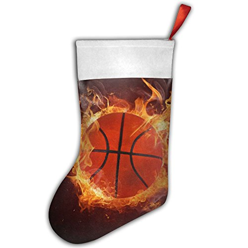 PKEIWE Cool Basketball On Fire Christmas Stocking Home Party Decorate
