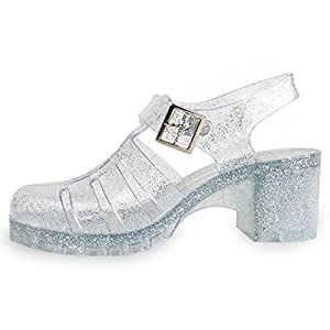 Top Silver Clear Glitter Jellies Closed Toe Rubber Sole Platform Low Block Heel Plastic Beach Fun Slingback Buckle Wedge Sandal Shoe Best Christmas Gift Idea for Women Teen Girl (Size 6 Clear Glitter)