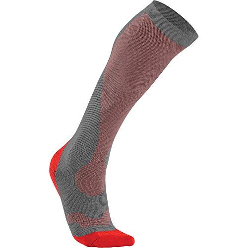 2XU Men's Compression Performance Run Socks, Grey/Red, X-Small by 2XU (Image #2)