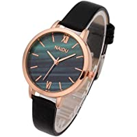 Top Plaza Women Girls Thin Leather Wrist Watch Fashion Unique Rose Gold Case Marbled Roman Numerals Dial Analog Quartz Watches Blue Green Dial