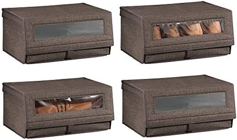 mDesign Juego de 4 Cajas para Zapatos de Tela – Cajas apilables con Ventana, Cierre de Velcro y Tapa abatible – Cajas organizadoras para armarios o estantes – marrón Oscuro: Amazon.es: Hogar