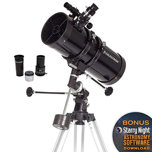 Celestron - PowerSeeker 127EQ Telescope - Manual German Equatorial Mount - Telescopes for Adults - Compact and Portable - BONUS Astronomy Software Package - 127mm Aperture (Camera Mount For Telescope Meade)