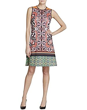 Womens Printed Sleeveless Casual Dress