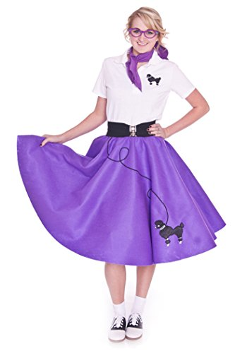 Hip Hop 50s Shop Adult 7 Piece Poodle Skirt Costume Set Purple Small (Homemade Costumes For Plus Size Women)