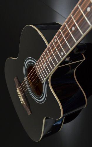 4/4 Guitarra acústica eléctrica en negro con 4 banda EQ pastilla + Funda con accesorios: Amazon.es: Instrumentos musicales