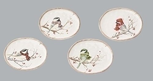 "Set of 2 4-Piece Assorted Oval Winter Chickadee Decorative Plates 6"" by Roman"